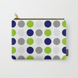 Lime Green, Bright Navy Blue, and Gray Multi Dots Minimalist Pattern on White Carry-All Pouch