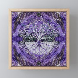Silver Tree of Life Yggdrasil on Amethyst Geode Framed Mini Art Print