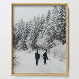 Memories of winter up the cold Taunus mountain in Germany  Serving Tray