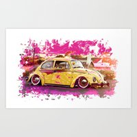 volkswagon Art Prints featuring yellowinpink beetle bug by Vector Art