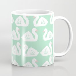 Swan minimal pattern print mint and white bird illustration swans nursery decor Coffee Mug