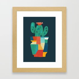 Blooming cactus in cracked pot Framed Art Print