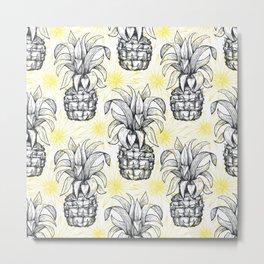Vintage Pineapple Pattern Metal Print