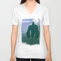 yeti V-neck T-shirts featuring Yeti by Megalomatthew
