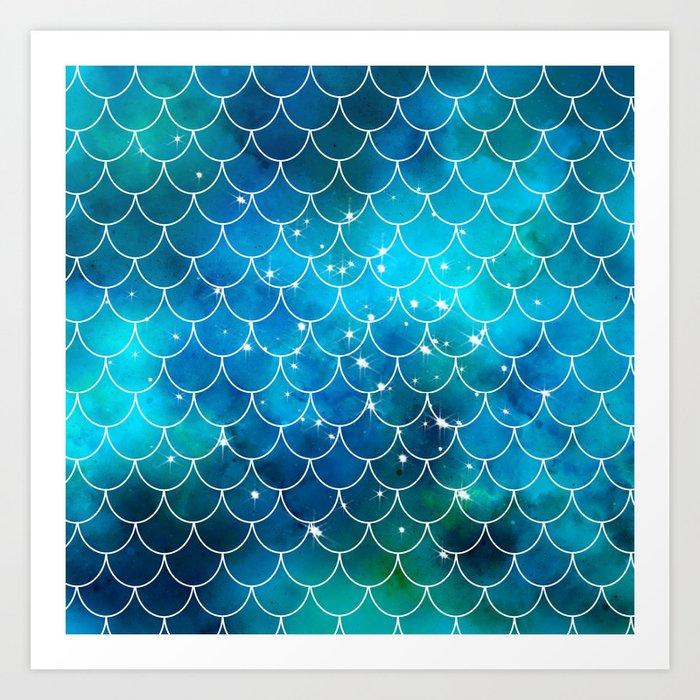 Mermaid Galaxy Scallop Pattern Art Print