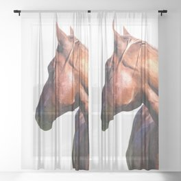 Horse Portrait Sheer Curtain