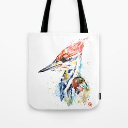 Woodpecker Colorful Watercolor Bird Painting Tote Bag