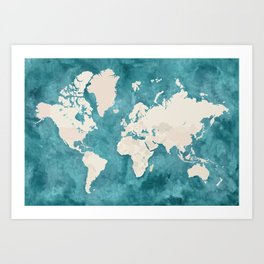 Teal watercolor and light brown world map Art Print