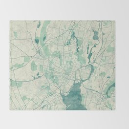 New Haven Map Blue Vintage Throw Blanket