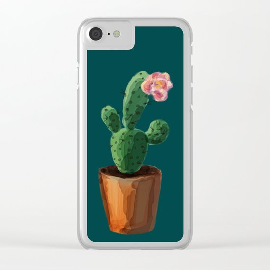 Three Cacti On Green Background Clear iPhone Case