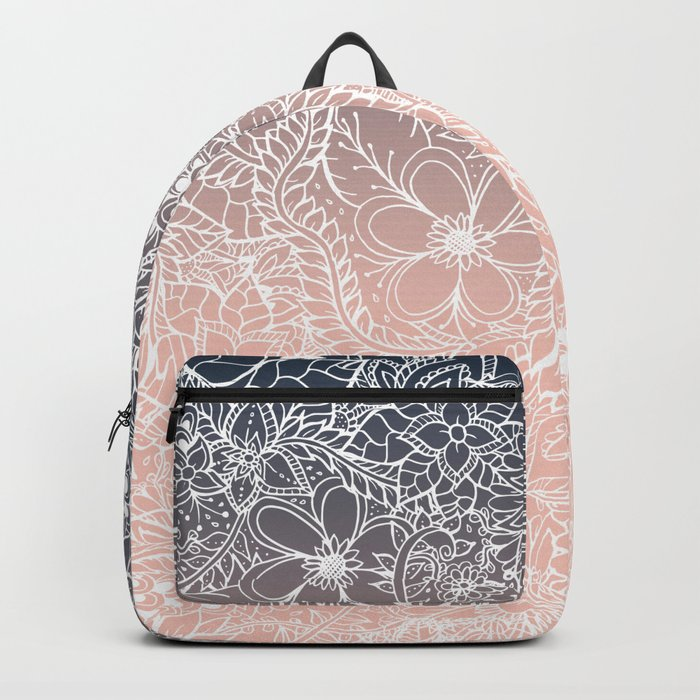 navy blue pastel peach ombre gradient white floral pattern Backpack