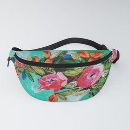 Pinks & Blues & Flames with Checked Cloth on Green Fanny Pack