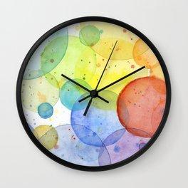 Watercolor Abstract Rainbow Circles and Splatters Wall Clock