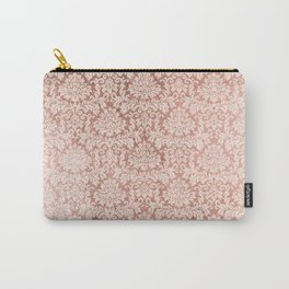 Vintage white faux rose gold elegant floral damask Carry-All Pouch