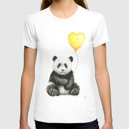 Panda with Yellow Balloon Baby Animal Watercolor Nursery Art T-shirt