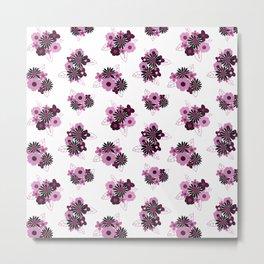 Floral Burst \\ Pink on White Metal Print