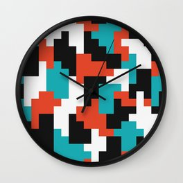Colour blocking shapes red, teal Wall Clock