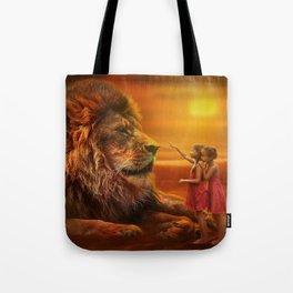 Lion twins | Lion et jumelles Tote Bag