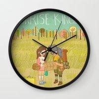 moonrise kingdom Wall Clocks featuring 'Moonrise Kingdom' by Nicola Colton illustration