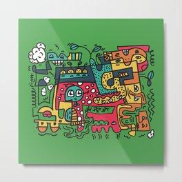 Green Doodle Monster World Metal Print