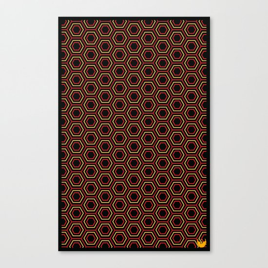 Hexagon Pattern in Red Canvas Print