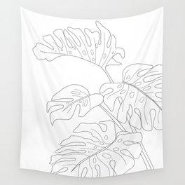 Line Art Monstera Leaves Wall Tapestry