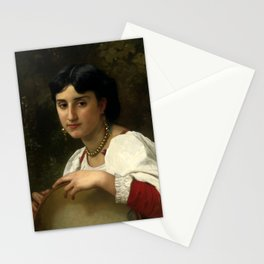 """William-Adolphe Bouguereau """"Italienne au Tambourin (Italian woman with tambourine)"""" Stationery Cards"""