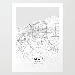 Calais, France - Light Map Art Print