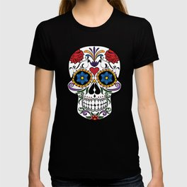 Red Roses and Heart Cranium Tattoo Art T-shirt