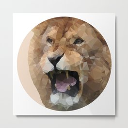 Geometric lion Abstract wild animal illustration Modern decor Gift for him Metal Print