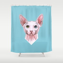 Sphynx cat portrait Shower Curtain
