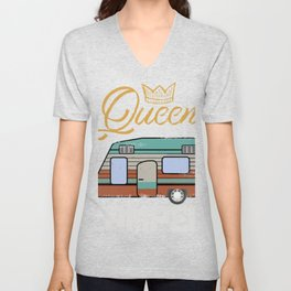 Gift print for Women | Queen of the Camper RV Fan product Unisex V-Neck