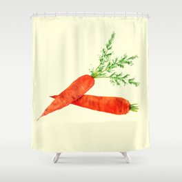 orange carrot watercolor painting Shower Curtain
