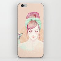 fantasy iPhone & iPod Skins featuring Pink hair lady by Ariana Perez