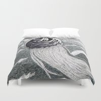 jelly fish Duvet Covers featuring Swirling Jelly Fish by Unique not Freak