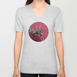 Pink and plant Unisex V-Neck