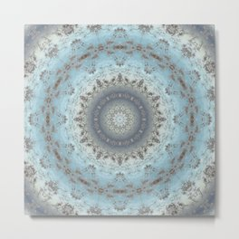 Gray blue kaleidoscope Metal Print
