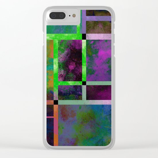 Pastel Textures - Abstract, pastel themed, geometric painting Clear iPhone Case