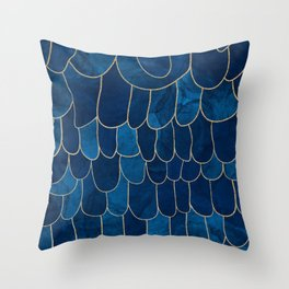 Stratosphere Sapphire // Abstract Blue Flowing Gradient Gold Foil Cloud Lining Water Color Decor Throw Pillow