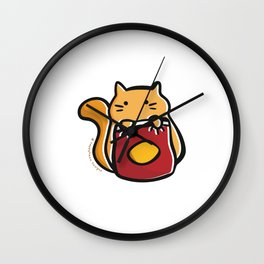 Cat with Chips (No Background) Wall Clock