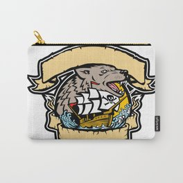 Angry Wolf Pirate Ship Banner Retro Carry-All Pouch