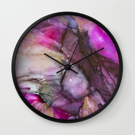 Beating Heart Alcohol Ink Painting Wall Clock