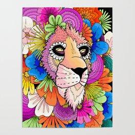Flower Lion Poster