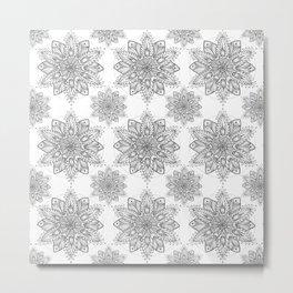 Snowflake Mandala Pattern Metal Print