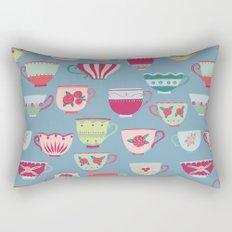 China Teacups on Teal Rectangular Pillow