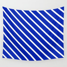 Sapphire Diagonal Stripes Wall Tapestry