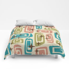 Mid Century Modern Cosmic Galaxies 436 Olive Blue and Dusty Rose Comforters
