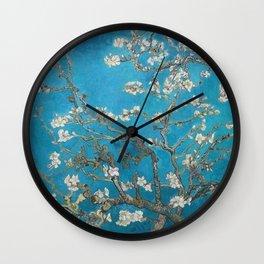 Vincent van Gogh Blossoming Almond Tree (Almond Blossoms) Medium Blue Wall Clock