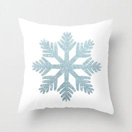 Blue Glitter Snowflake Throw Pillow
