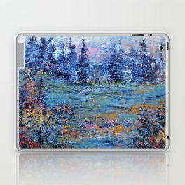 Abstract Landscape Palette Knife Painting, Rainbow Lake, Navy Blue, Gold, Green Laptop & iPad Skin